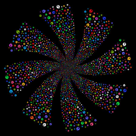 Help Balloon fireworks swirl rotation. Raster illustration style is flat bright multicolored iconic symbols on a black background. Object spiral organized from random pictographs. Stock Photo