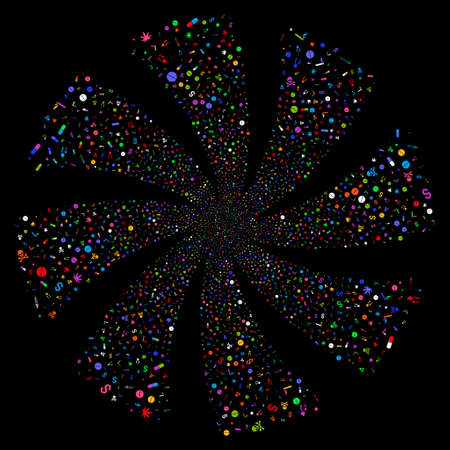 Narcotic Drugs fireworks swirl rotation. Raster illustration style is flat bright multicolored iconic symbols on a black background. Object flower organized from random pictographs.