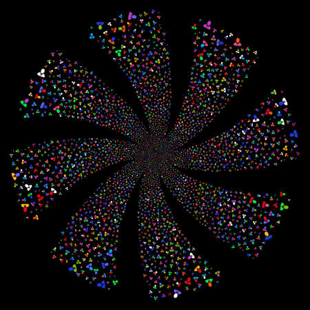 he is beautiful: Manager fireworks swirl rotation. Raster illustration style is flat bright multicolored iconic symbols on a black background. Object flower combined from random icons.