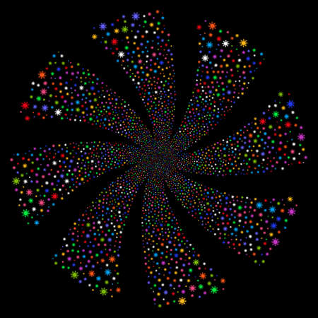 Sun fireworks swirl rotation. Raster illustration style is flat bright multicolored iconic symbols on a black background. Object spiral created from random pictographs. Stock Photo