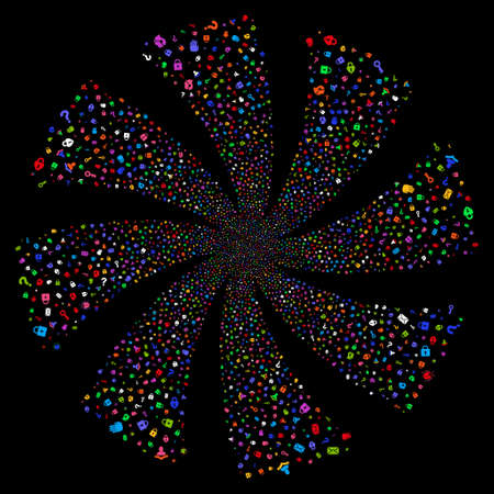 Secrecy Symbols fireworks swirl rotation. Raster illustration style is flat bright multicolored iconic symbols on a black background. Object spiral combined from random design elements.