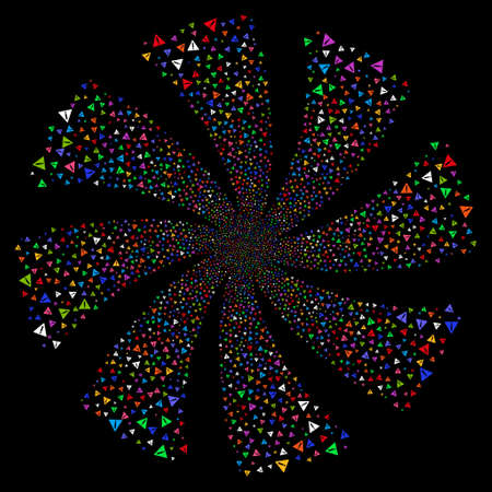 Warning fireworks swirl rotation. Raster illustration style is flat bright multicolored iconic symbols on a black background. Object spiral created from random pictographs.