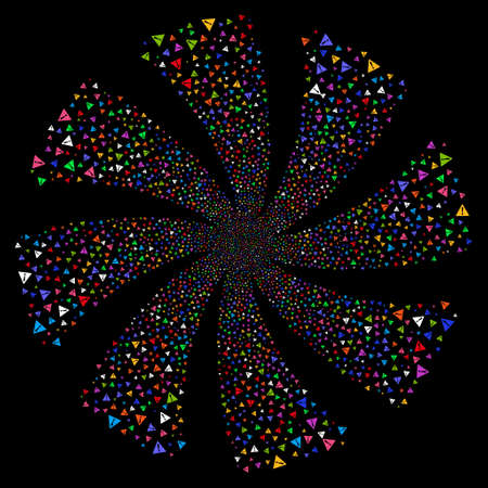 Warning fireworks swirl rotation. Raster illustration style is flat bright multicolored iconic symbols on a black background. Object whirl done from random symbols.