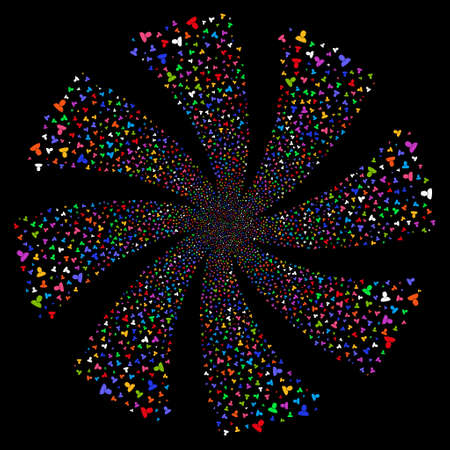 User fireworks swirl rotation. Raster illustration style is flat bright multicolored iconic symbols on a black background. Object whirlpool constructed from random pictographs.