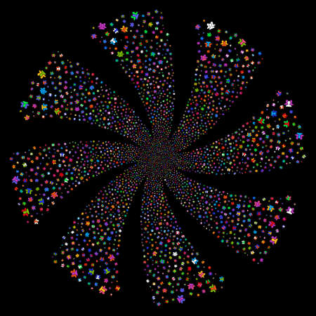 Users fireworks swirl rotation. Raster illustration style is flat bright multicolored iconic symbols on a black background. Object twirl constructed from random symbols.