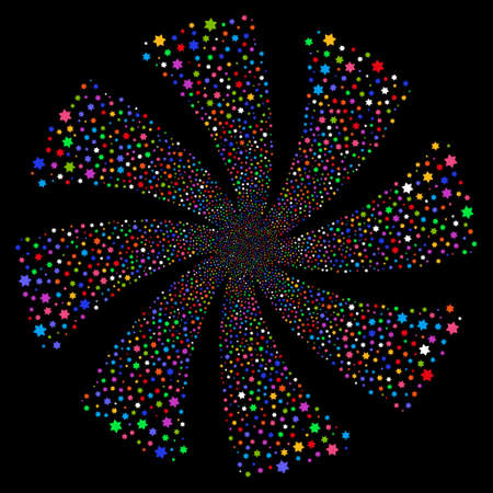 Six Pointed Star fireworks swirl rotation. Raster illustration style is flat bright multicolored iconic symbols on a black background. Object whirl done from random icons.