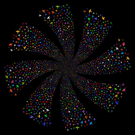 Aircraft fireworks swirl rotation. Vector illustration style is flat bright multicolored iconic symbols on a black background. Object whirlpool organized from random design elements.