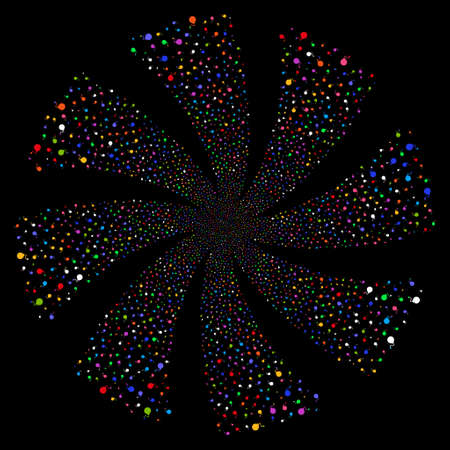 Bomb fireworks swirl rotation. Vector illustration style is flat bright multicolored iconic symbols on a black background. Object flower done from random pictographs.
