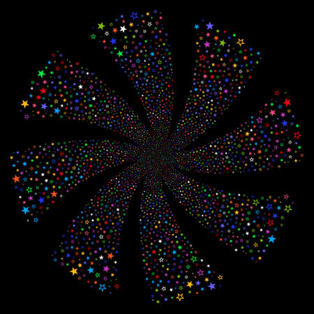 Decoration Stars fireworks swirl rotation. Vector illustration style is flat bright multicolored iconic symbols on a black background. Object flower constructed from random symbols.
