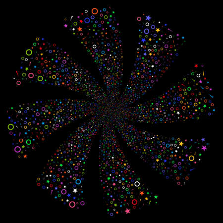 Confetti Stars fireworks swirl rotation. Vector illustration style is flat bright multicolored iconic symbols on a black background. Object flower done from random icons.