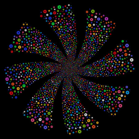 Cogwheel fireworks swirl rotation. Vector illustration style is flat bright multicolored iconic symbols on a black background. Object whirl constructed from random pictographs.