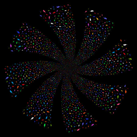 Electric Strike fireworks swirl rotation. Vector illustration style is flat bright multicolored iconic symbols on a black background. Object twirl made from random symbols.