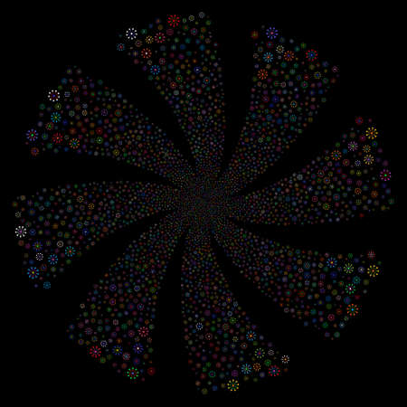 Expanse fireworks swirl rotation. Vector illustration style is flat bright multicolored iconic symbols on a black background. Object whirl created from random pictograms.