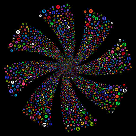 Coin fireworks swirl rotation. Vector illustration style is flat bright multicolored iconic symbols on a black background. Object whirl constructed from random pictographs.