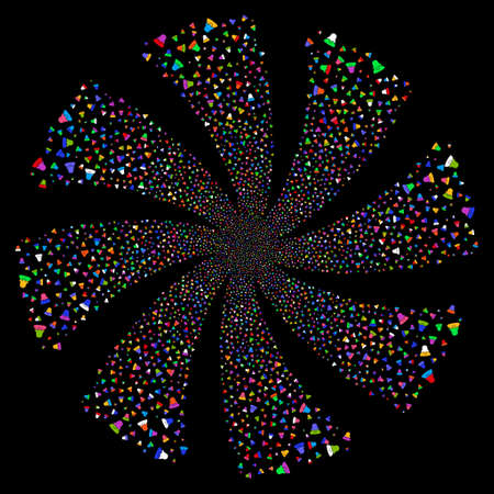 Female fireworks swirl rotation. Vector illustration style is flat bright multicolored iconic symbols on a black background. Object whirlpool organized from random pictograms. Ilustrace