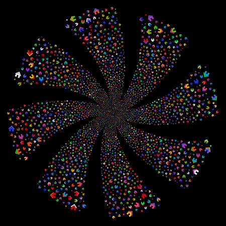 Home fireworks swirl rotation. Vector illustration style is flat bright multicolored iconic symbols on a black background. Object spiral made from random icons.