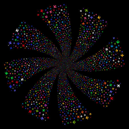 Jet Plane fireworks swirl rotation. Vector illustration style is flat bright multicolored iconic symbols on a black background. Object flower made from random design elements.