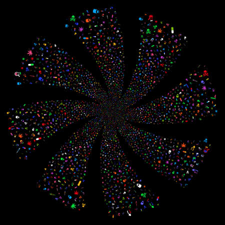 Narcotic Drugs fireworks swirl rotation. Vector illustration style is flat bright multicolored iconic symbols on a black background. Object spiral done from random symbols. Illustration