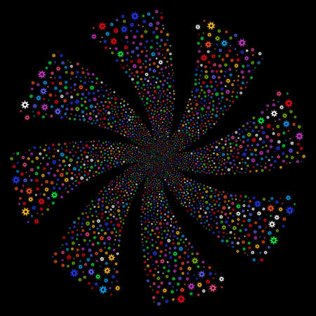 New fireworks swirl rotation. Vector illustration style is flat bright multicolored iconic symbols on a black background. Object flower organized from random pictographs.