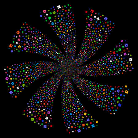 Problem fireworks swirl rotation. Vector illustration style is flat bright multicolored iconic symbols on a black background. Object whirlpool made from random icons.
