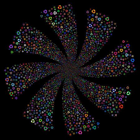 Recycle Arrows fireworks swirl rotation. Vector illustration style is flat bright multicolored iconic symbols on a black background. Object whirlpool made from random icons.