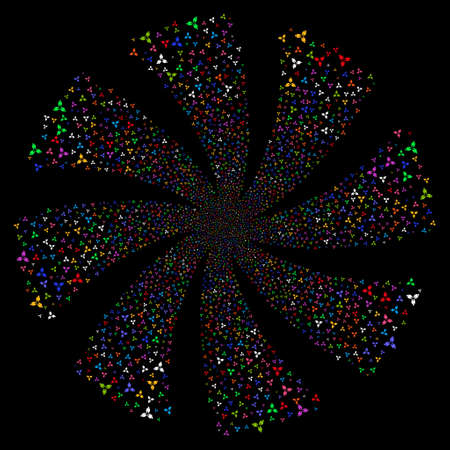 Stomatology fireworks swirl rotation. Vector illustration style is flat bright multicolored iconic symbols on a black background. Object spiral organized from random icons.
