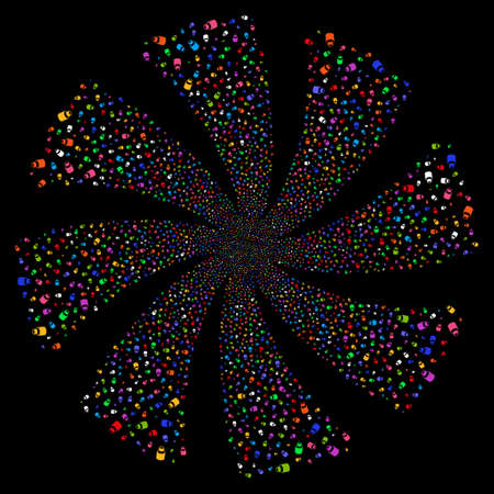 Vial fireworks swirl rotation. Vector illustration style is flat bright multicolored iconic symbols on a black background. Object flower made from random symbols.