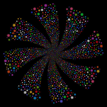 Virus fireworks swirl rotation. Vector illustration style is flat bright multicolored iconic symbols on a black background. Object spiral made from random icons.