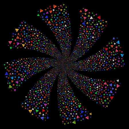 Warning fireworks swirl rotation. Vector illustration style is flat bright multicolored iconic symbols on a black background. Object spiral made from random symbols. Illustration