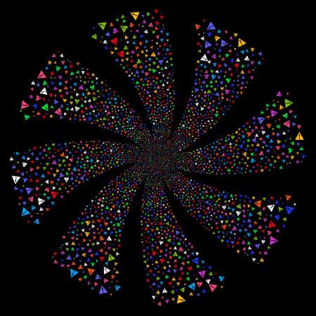 Warning fireworks swirl rotation. Vector illustration style is flat bright multicolored iconic symbols on a black background. Object spiral done from random design elements. Ilustração