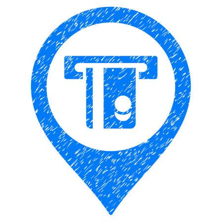 automatic transaction machine: Grunge ATM Machine Marker icono con diseño grunge y textura de polvo. Pictograma azul del vector sucia para las imitaciones del sello de goma y las filigranas. Símbolo de signo de proyecto Vectores