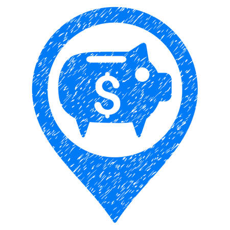 financial position: Grunge Bank Map Marker icon with grunge design and dirty texture. Unclean vector blue pictogram for rubber seal stamp imitations and watermarks. Draft sign symbol.