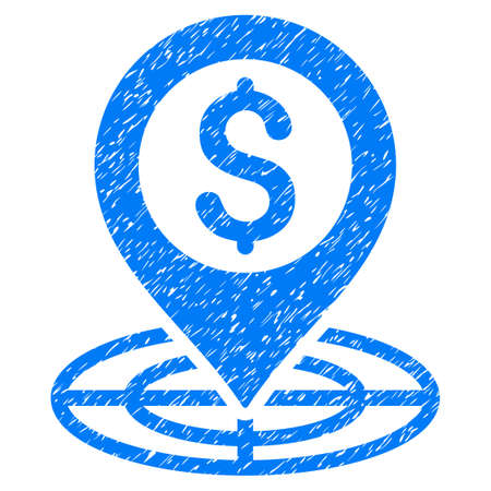 Grunge Financial Crosshair icon with grunge design and dirty texture. Unclean vector blue pictogram for rubber seal stamp imitations and watermarks. Draft sign symbol.