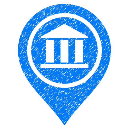 Grunge Bank Map Pointer icon with grunge design and unclean texture. Unclean raster blue pictogram for rubber seal stamp imitations and watermarks. Draft emblem symbol.