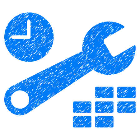 Grunge Date And Time Configuration icon with grunge design and dirty texture. Unclean vector blue pictogram for rubber seal stamp imitations and watermarks. Draft sticker symbol.