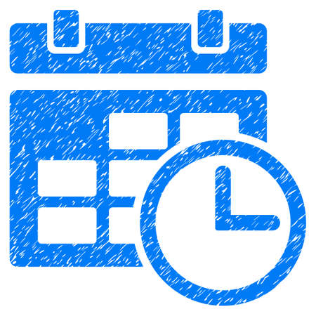 Grunge Date And Time icon with grunge design and scratched texture. Unclean vector blue pictogram for rubber seal stamp imitations and watermarks. Draft sticker symbol.