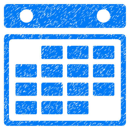 Grunge Month Calendar icon with grunge design and unclean texture. Unclean vector blue pictogram for rubber seal stamp imitations and watermarks. Draft sign symbol.