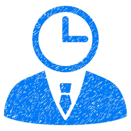 Grunge Time Manager icon with grunge design and unclean texture. Unclean vector blue pictogram for rubber seal stamp imitations and watermarks. Draft emblem symbol.