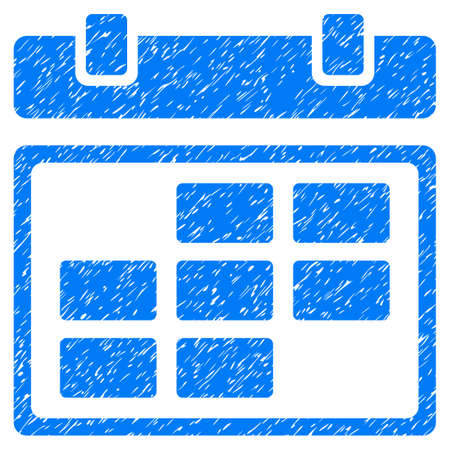 Grunge Month Calendar icon with grunge design and unclean texture. Unclean raster blue pictogram for rubber seal stamp imitations and watermarks. Draft sign symbol. Stock Photo