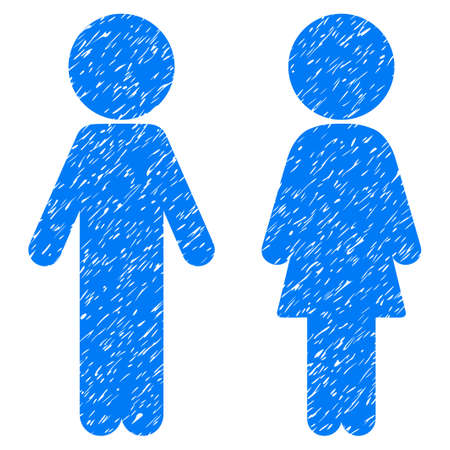 Grunge Children Couple icon with grunge design and unclean texture. Unclean raster blue pictogram for rubber seal stamp imitations and watermarks. Draft emblem symbol. Stock Photo