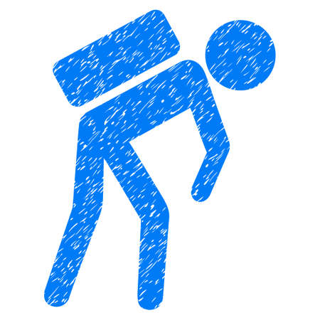 Grunge Child Courier icon with grunge design and scratched texture. Unclean raster blue pictogram for rubber seal stamp imitations and watermarks. Draft sign symbol.