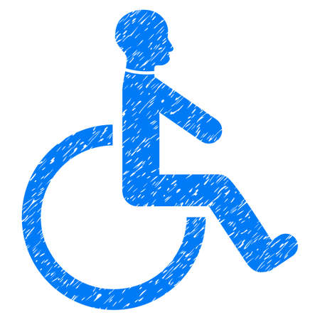 Grunge Wheelchair icon with grunge design and dirty texture. Unclean vector blue pictogram for rubber seal stamp imitations and watermarks. Draft sticker symbol.