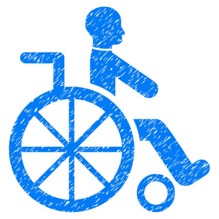 invalid: Grunge Wheelchair icon with grunge design and scratched texture. Unclean vector blue pictogram for rubber seal stamp imitations and watermarks. Draft sign symbol. Illustration