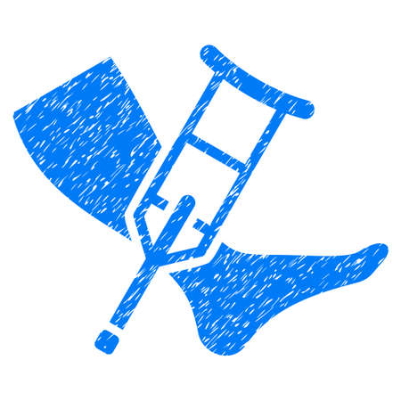 Grunge Leg And Crutch icon with grunge design and unclean texture. Unclean raster blue pictogram for rubber seal stamp imitations and watermarks. Draft emblem symbol.