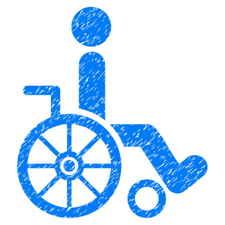 Grunge Wheelchair icon with grunge design and dust texture. Unclean vector blue pictogram for rubber seal stamp imitations and watermarks. Draft sign symbol. Illustration