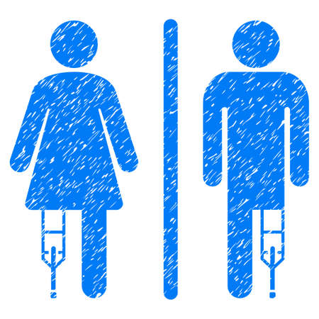 Grunge Patient WC Persons icon with grunge design and dirty texture. Unclean raster blue pictogram for rubber seal stamp imitations and watermarks. Draft sticker symbol.