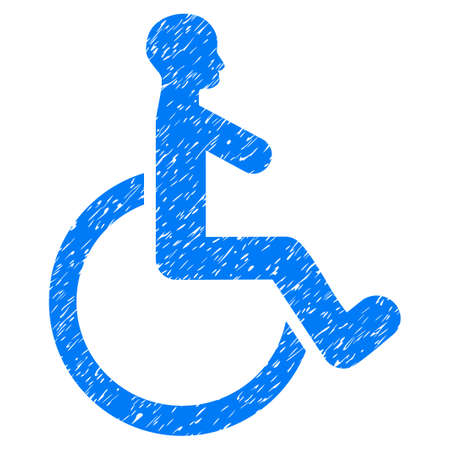 Grunge Wheelchair icon with grunge design and unclean texture. Unclean raster blue pictogram for rubber seal stamp imitations and watermarks. Draft sign symbol.
