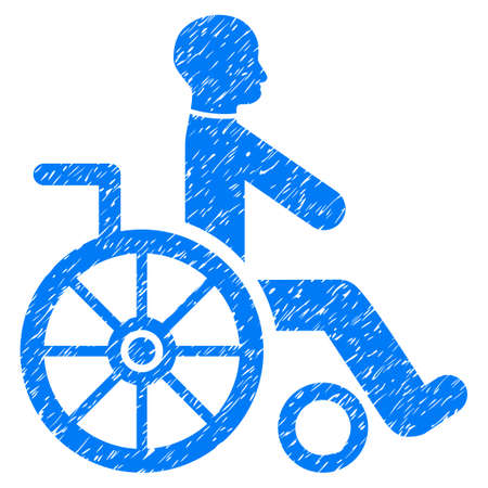 Grunge Wheelchair icon with grunge design and dust texture. Unclean raster blue pictogram for rubber seal stamp imitations and watermarks. Draft sticker symbol.
