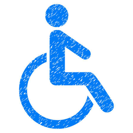 Grunge Disabled Person icon with grunge design and unclean texture. Unclean vector blue pictogram for rubber seal stamp imitations and watermarks. Draft emblem symbol.