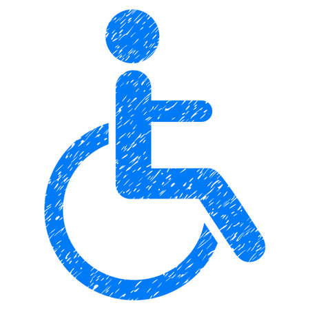 Grunge Disabled Person icon with grunge design and dust texture. Unclean vector blue pictogram for rubber seal stamp imitations and watermarks. Draft sticker symbol.